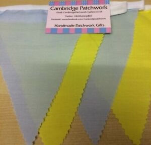 Pastel Baby Blue And Yellow Cotton Bunting Per Metre