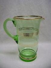 Depression Vaseline Uranium Glass Green Carafe Pitcher, Gold Trim  40 Oz.