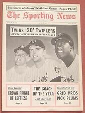 4-1-67 SPORTING NEWS MINNESOTA TWINS KAAT   CHANCE   GRANT ON COVER BASEBALL
