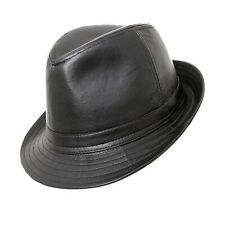 Black Trilby PU Leather PVC Classic Hat