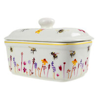 Busy Bees Ceramic Butter Dish with Lid Watercolour Flowers Print Floral Design