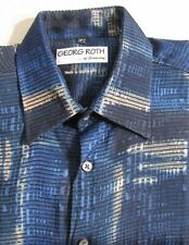 Georg Roth of Germany Blue Abstract Print  Short Sleeve Men's Shirt Size M