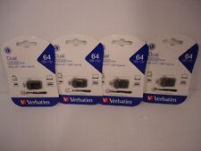 BOX OF 4 Verbatim 99140 64GB Store 'n' Go Dual USB Flash Drive for OTG Devices