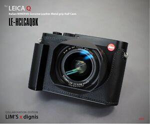 LIM'S Genuine Leather Camera Metal Grip Half Case for Leica Q Typ 116Black