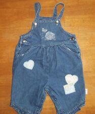 Girls blue jeans overalls bibs size 12 months, denim, Disney, hearts CUTE #232
