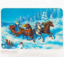 Wooden fridge Magnet charm winter Russian horse troika Ded Moroz Happy New Year