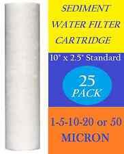 """25 Pack 10"""" x 2.5"""" Sediment Cartridge Spun Polypropylene Water Filter Standard"""