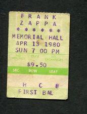 1980 Frank Zappa concert ticket stub Kansas City Don't Eat The Yellow Snow