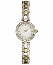 Bulova Women's 98L213 Swarvoski Crystal Accents Quartz Gold Tone 23mm Watch