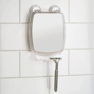 Shower Shaving Mirror Bathroom Plastic Power Lock Suction Razor Holder Fog Free