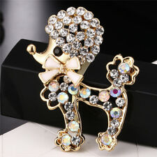 Crystal Rhinestone Dog Brooch Pin Cute Puppy Animal Brooch Pin Women Jewelry SE