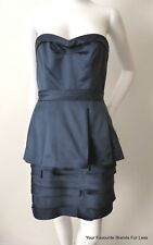 BCBGMAXAZRIA   rrp $399.00 Blue Strapless Pleated Peplum Dress Size 8 US 4