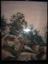 GR 1866, Häuser am Berg, Aquarell, ger/Glas, RG 45x35 cm
