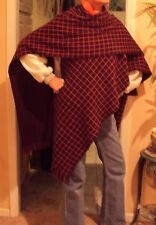 WOMANS CLOTHING. PONCHO.Reversible ONE SIDE SOLID/  WINDOW PANE PLAID