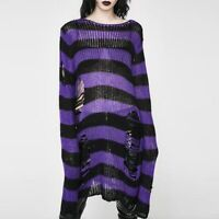 Women Gothic Sweater Plus Size Punk Goth Style Long Pullover Sleeve Rock