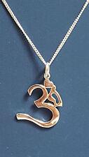 "Sanskrit OM AUM Pendant 20"" Trace Chain Sterling 925 Silver Buddhist Hindi"