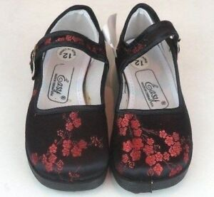 Girl's Chinese Mary Jane Plum Floral Brocade Shoes Black & Red Sizes 11 - 4 New
