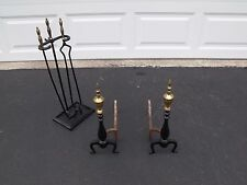 "Brass and Iron Fireplace 20"" Andiron and 2 Piece Tool Set with Holder"