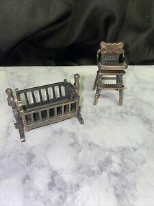 Vintage Miniature Cradle and High chair-Durham Industries 1977 Metal