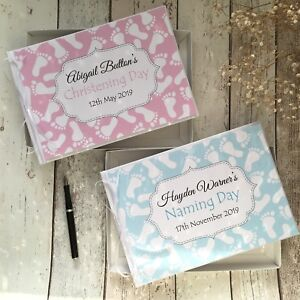PERSONALISED BABY CHRISTENING/NAMING DAY GUEST BOOK + BOX ~ PINK/BLUE FOOTPRINTS