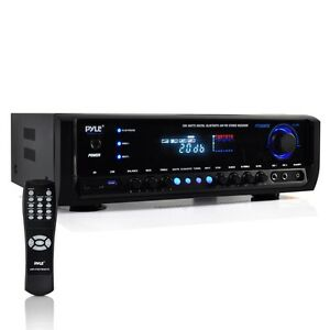 PYLE BLUETOOTH 300W HOME STEREO RECEIVER AMPLIFIER AM/FM USB/SD AUX MIC INPUTS