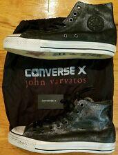 *$170* CONVERSE John Varvatos CT HI leather Mens 9.5 silver Chuck Taylor punk