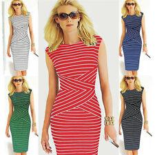 Womens Summer Dress Sleeveless Striped Evening Party Bodycon Pencil Midi Dress