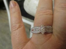 14K W.G. DIAMOND ENGAGEMENT RING WITH ACCENTS; MARQUIS STONE WITH SIDE DIAMONDS