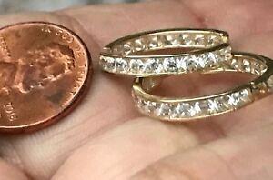 GOLD huggie Hoop earring 14k yellow Manmade Diamond round 20mm 2.4g