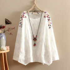 Women Cotton Linen Shirt Floral Embroidery Loose Vintage Top Blouse White Casual