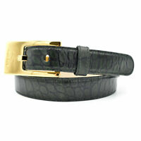 Escada Dark Forest Green Croc Embossed Leather Belt w/ Gold Buckle sz 40 / 10 US