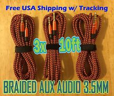 3x LOT 3.5mm 10ft ORANGE 3M AUX Braided AUXILIARY CORDS Male to Male Audio Cable