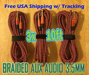 3x LOT 3.5mm 10ft ORANGE 3M AUX Braided AUXILIARY CORD Male to Male Audio Cables