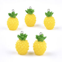 10pcs Yellow Resin Pineapple Pendants Fruit Cute Charms Jewelry Crafting 32~33mm