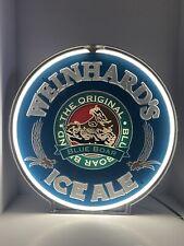 Weinhard's Ice Ale Rotating Neon Light Bar Sign Blue Boar Boar's Head Beer