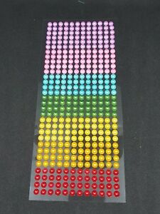 Adhesive Stick on Craft Pearls Rainbow Colours 6mm Sheet of 372 - Scrapbooking