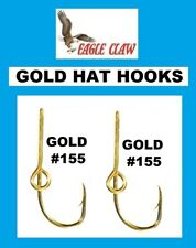 2 EAGLE CLAW GOLD HAT HOOKS Fish Hook Hat Clip /Baseball Cap Pin NEW! TWO #155