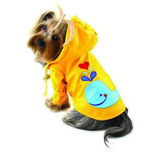 Splashing Whale Raincoat Klippo Dog Clothes XS-XL Puppy Pet Rain Coat Hood Lined