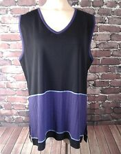 Womens Plus 1X Exclusively Misook Black Purple V-Neck Sleeveless Blouse Tank Top