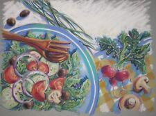 Vintage ORIGINAL Barbara Maslen 'SALADS' Still Life Pastel ILLUSTRATION Painting
