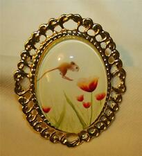 Delightful Swirled Goldtone Little Field Mouse Hopping in the Flowers Brooch Pin