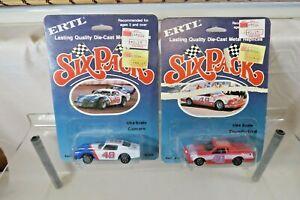 Ertl Six Pack Die-Cast Cars - Thunderbord & Camaro Race Cars on Cards 1982