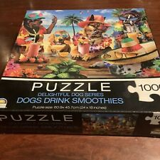 DOGS DRINKING SMOOTHIES 1000 Pieces Crown Jigsaw Delightful Dog SerIes New