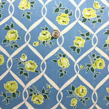 "Vintage Cotton Full Feed Sack Beautiful Chartreuse Roses on Sky Blue  45"" x 36"""