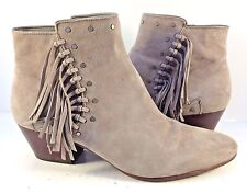 """Sam Edelman Gray Suede """"Rudie"""" Studded Fringe Ankle Booties Womens Size US 10M"""