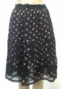 New $1195 Dolce & Gabbana Women Black Floral Lace-Trim Silk Maxi Skirt Size 0/36