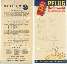 DIPPOLDISWALDE i. E., Rechnungszettel PFLUG-Fabrik für Haferpräparate L. Schmidt