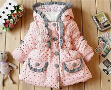 Girls Parka Coat Love Hearts & Bows Warm Double Lined 2 - 3 yrs & 3 - 4 yrs Pink