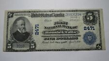 $5 1902 Hoosick Falls New York NY National Currency Bank Note Bill! Ch. #2471 VF