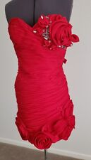 WOW GORGEOUS Red Mac Duggal Formal Cocktail Dress size 2 4 6 Rosette Rose Ruched